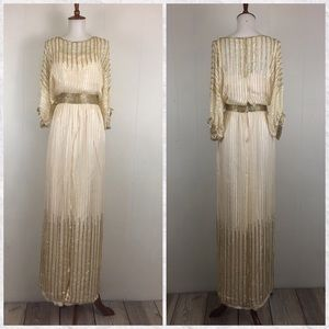 Vintage Beaded Dolman Short Sleeve Maxi Dress